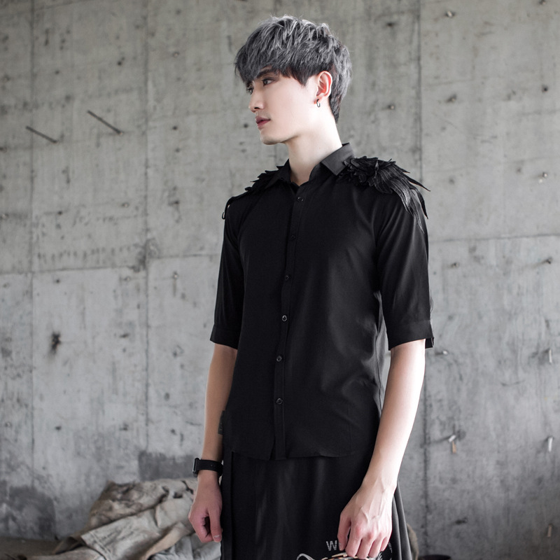 Autumn New Men Fashion Punk Style Long Sleeve Casual Shirt Male Shoulder Wings Slim Fit Dress Shirt Stage Show Costume