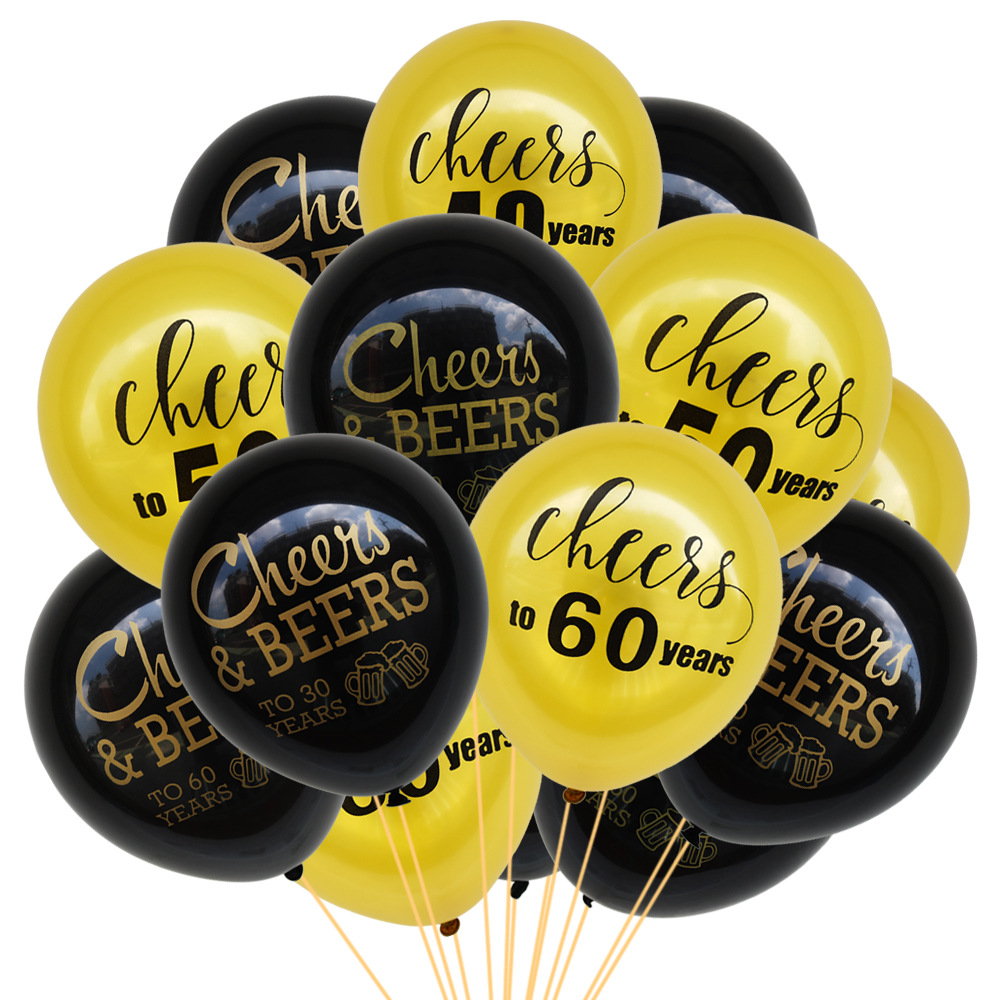 100Pcs Latex Balloon Cheers/&Beers To 30//40//50 Years Birthday Party Decor Happy
