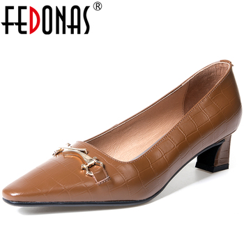 FEDONAS Women Cow Patent Leather Pointed Toe Elegant Retro Casual Office Metal Decoration Thick Heel Shallow Slip-On Shoes Woman