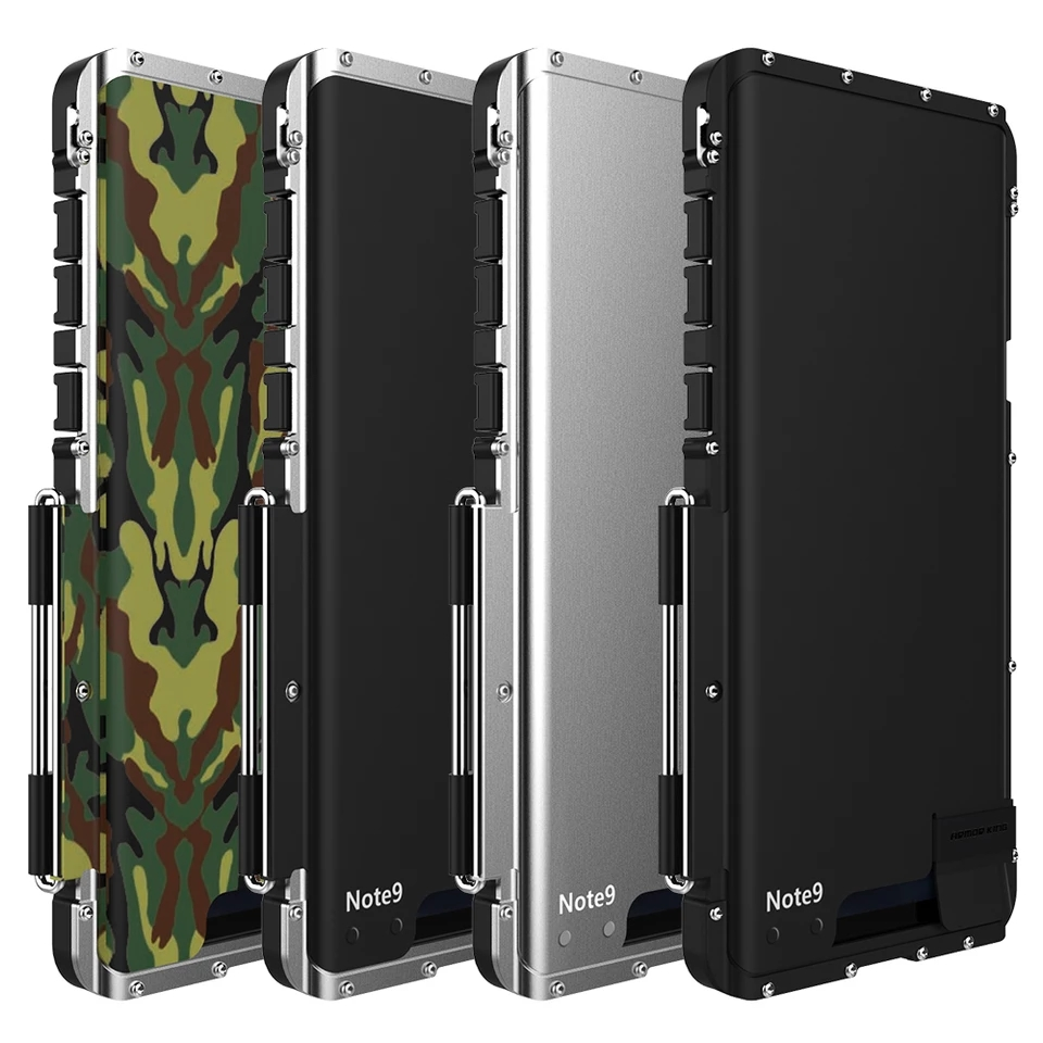 R-JUST ShockProof Case For Samsung Galaxy Note Phone  Flip Aluminum Metal King Iron Man 360 Protective Armor Phone Case