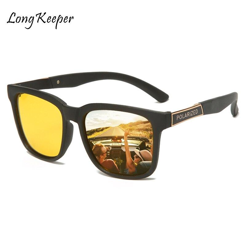 Men Driving Night Vision Glasses Polarrized Sunglasses Square Yellow Lens UV400 Driving Goggles For Drivers Sport Gafas