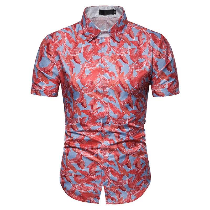 New Summer Hawaiian Shirt 2019 Brand New Short Sleeve Floral Shirt Men Hawaii Shirt Beach Party Prom Shirt Male Camisa Masculina