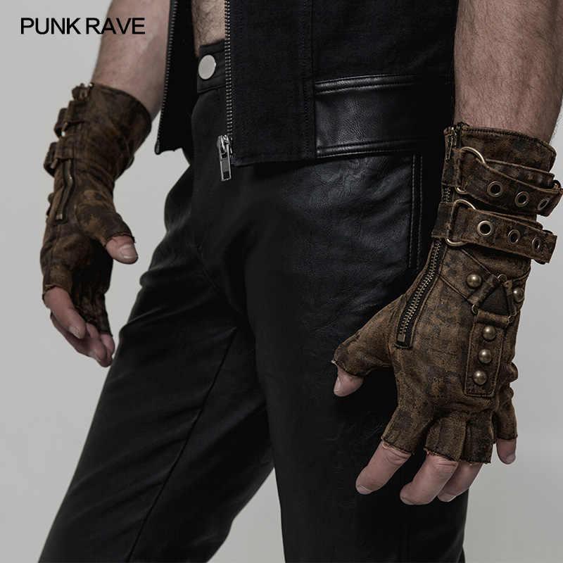 Punk Rave negro g/ótico cuero remache largo sin dedos guantes para hombres