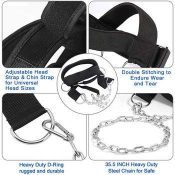 Head Neck Training Head Harness Body Strengh Exercise Strap Adjustable Neck Power Training Gym Fitness Weight Bearing cap 5