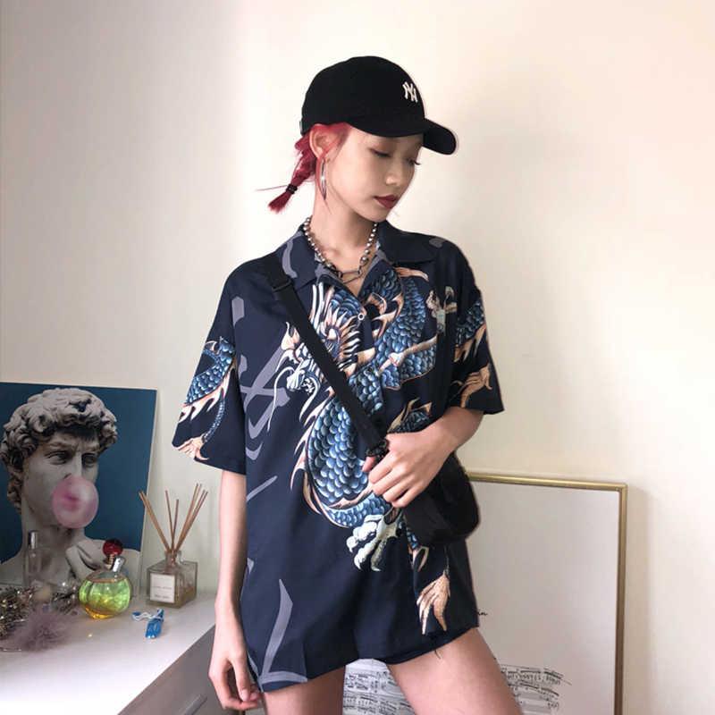 2020 été printemps femmes Blouses BF stylle surdimensionné chemises Harajuku hauts Dragon imprimer manches courtes chemises femme Streetwear