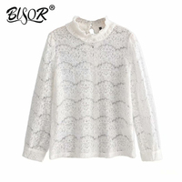 Elegant women white lace blouse Sexy see through female office shirts Sweet puff sleeve crew neck ladies work wear tops