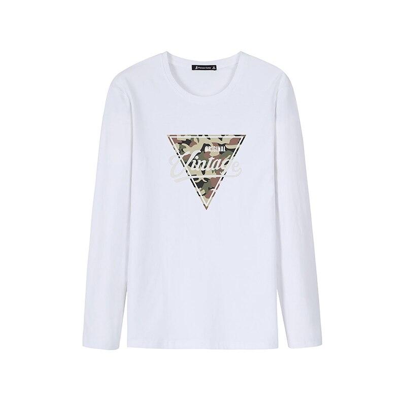Pioneer Camp, футболка с длинными рукавами, мужские повседневные футболки с треугольным узором, Осенние футболки с вырезом лодочкой, эластичные подростковые футболки для мужчин, ACT901282 - Цвет: White