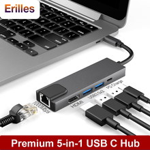 5 in 1 Laptop USB C Hub Type to Multi 3.0 Hdmi 4K Gigabit Ethernet Adapter for Macbook Air Pro Splitter with Rj45 Lan