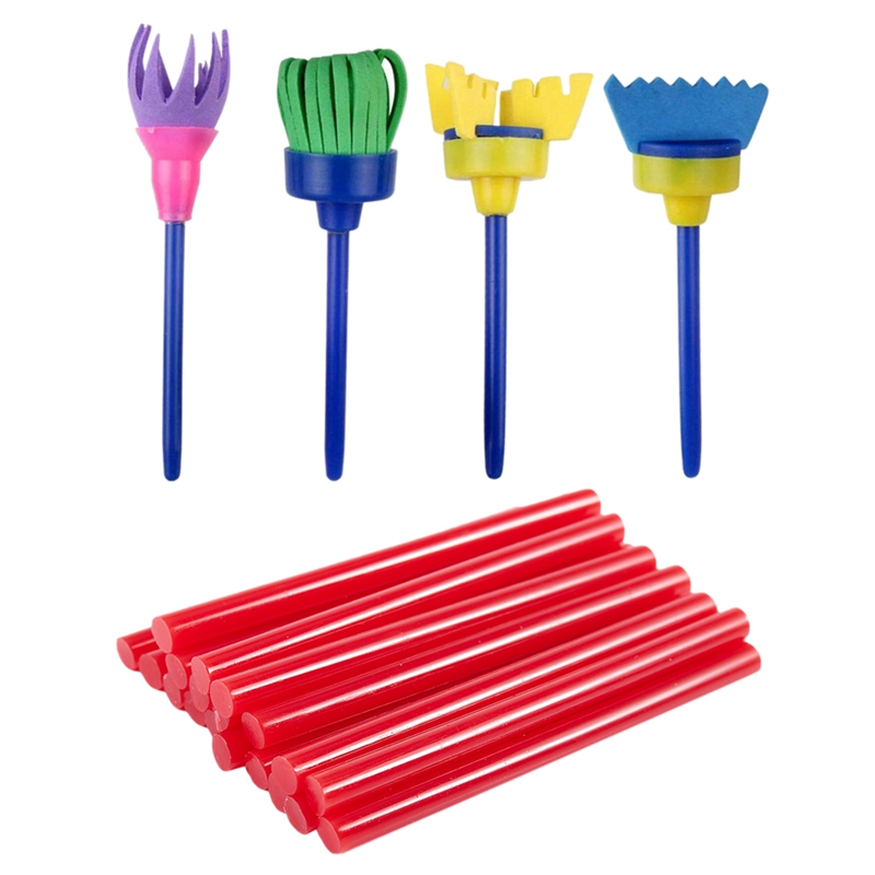 20 Pcs Red Hot Melt Glue Gun Adhesive Sticks 7X100Mm For Craft Model With 4 Pcs Sponge Paint Brushes For Kids, Early Learning Dr
