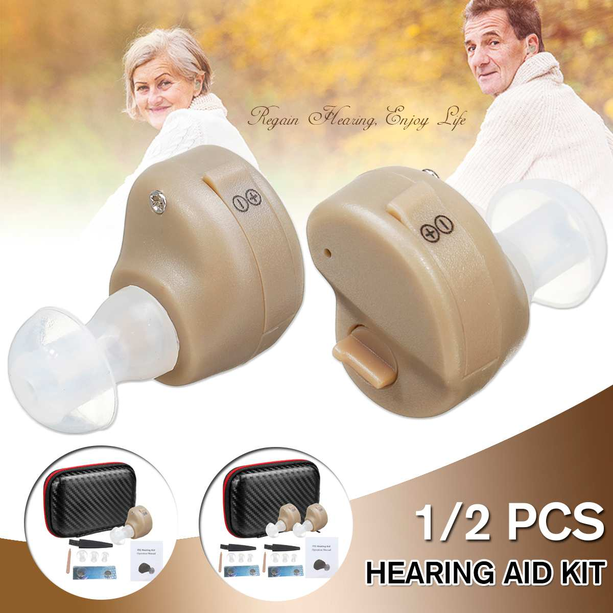 New 1/2PCS Wireless Hearing Aid Portable Small Mini In The Ear Sound Amplifier Adjustable Tone Digital Aids Care Hearing Aids    - AliExpress