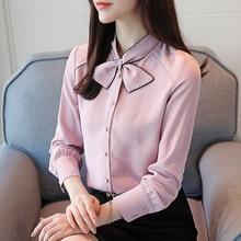 Women Shirts Chiffon Blouses Shirt Elegant Women Bow Blouse OL Shirt Plus Size Womens Tops and Blouses Blusas Mujer De Moda 2019 цена