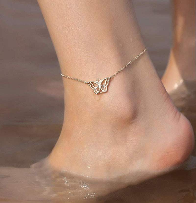 Butterfly Anklet Bracelet Gold Color Rhinestone Leg Bracelet Summer Barefoot Beach Accessories Ankle Bracelet for Women Jewelry