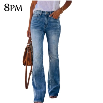 Vintage Flare Jeans Women Slim Denim Full Length Trousers 2021 Spring Fashion High Raise Stretch Wide Leg Jeans  ouc1061 1