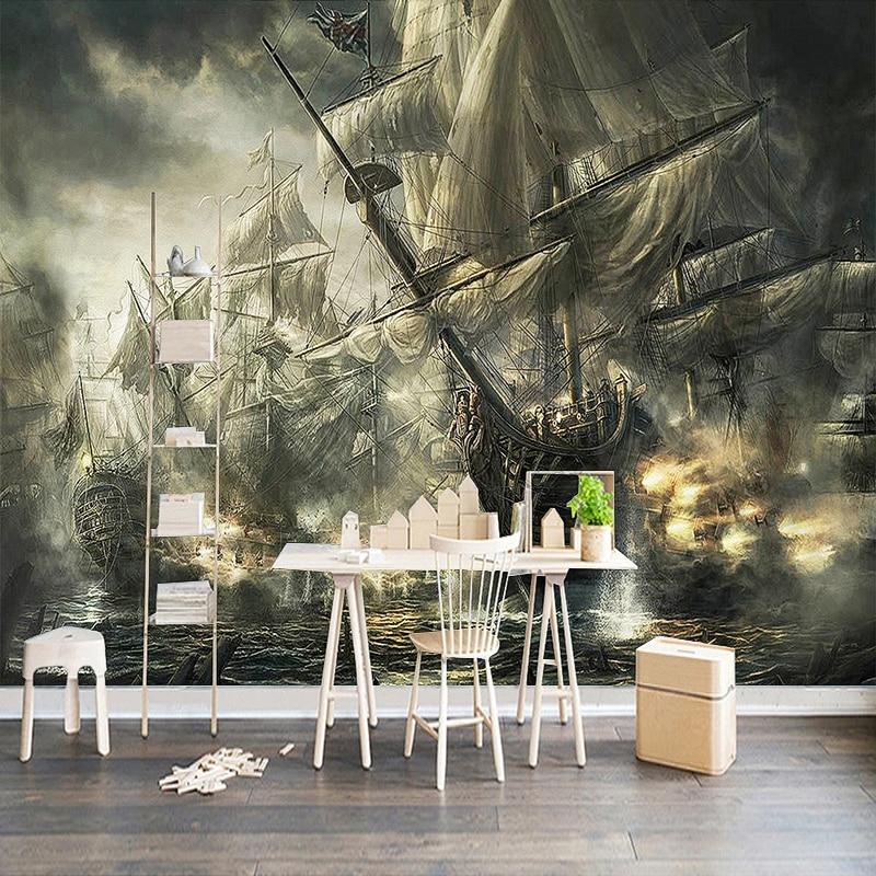 Custom Mural Wall Paper 3D Retro Nostalgic Pirate Ship Oil Painting Bar KTV Study Room Living Room TV Background Photo Wallpaper