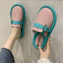 2020 new leather woman belt buckle round close toe mules slides casual outside slip-on lazy slippers solid low heels flip flops drop shipping women s slide on slip on mules loafer flats shoes rhinestone slides slippers new fashion woman mules flip flops