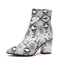 ZETMTC Print Snake Pu Women Ankle Boots Zip Pointed Toe Footwear Thick High Heels Female Boot Shoes Women 2019 snakeskin Bootie(China)