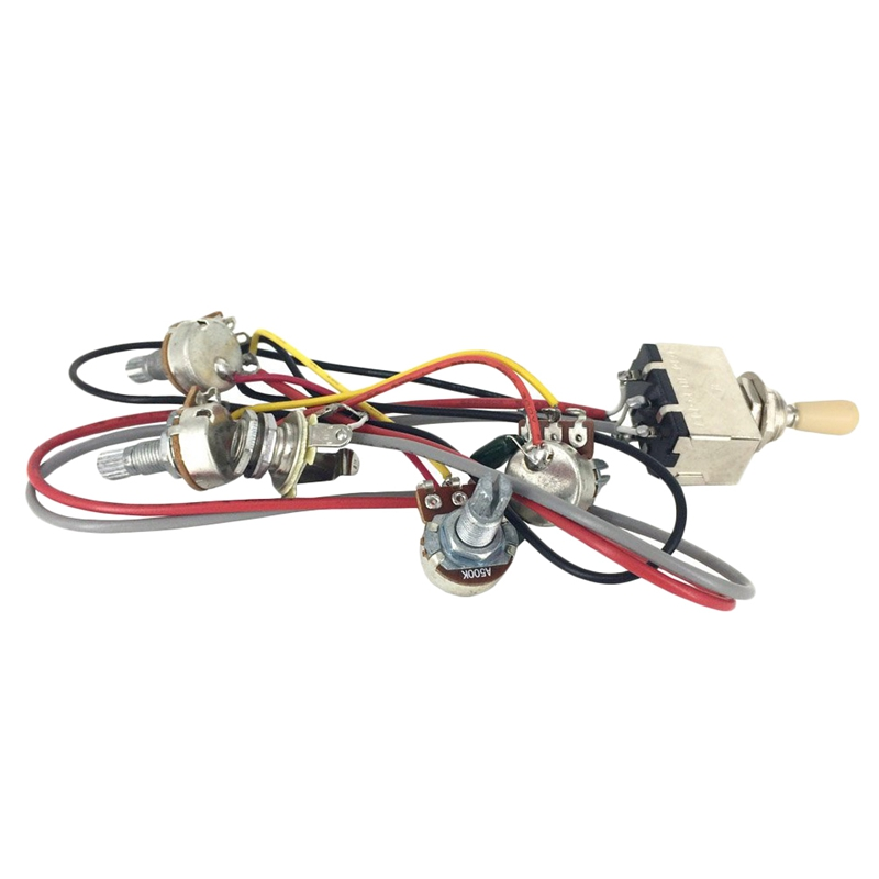 For Lp Electric Guitar Wiring Harness Prewired 2V2T 3-Way Toggle Switch 500K Pots Jack For  Lp Guitar Replacement