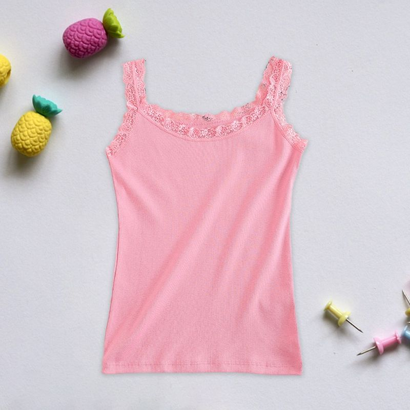 Women Summer Sleeveless Tank Top U-Neck Slim Basic Camis Vest Lace Trim Solid Candy Color Ribbed Knit Bottoming Shirt 8 Colors
