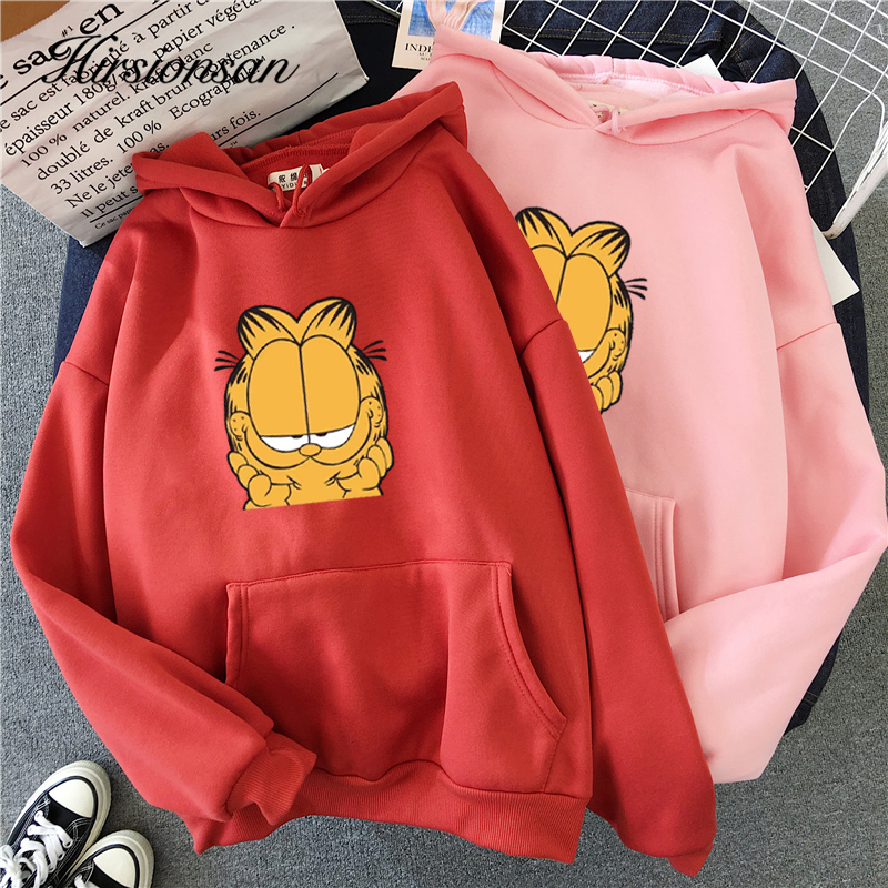 Hirsionsan Harajuku Hoodie Women Couple Sweatshirt Pocket Kawaii Garfield Print Sisters Pullover Hoodie Oversized Warm Sportwear