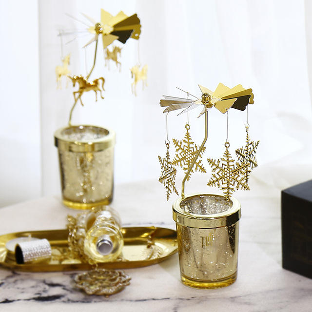 Gold Rotating Candle Holder Go Round CandleChirstmas Metal Rotaing Candlestick Romantic Rotary Spinning TeaLight Home Decoration 2
