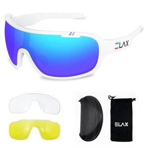 Image 5 - ELAX gafas de sol deportivas para hombre y mujer, lentes para ciclismo de montaña, con protección UV400, 3 lentes, 2019