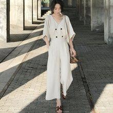 цены на Casual Simple Office Ladies Vintage Japan Style Plus Size Jumpsuits Women Loose Wide Legs High Waist Plain Button Retro Rompers  в интернет-магазинах