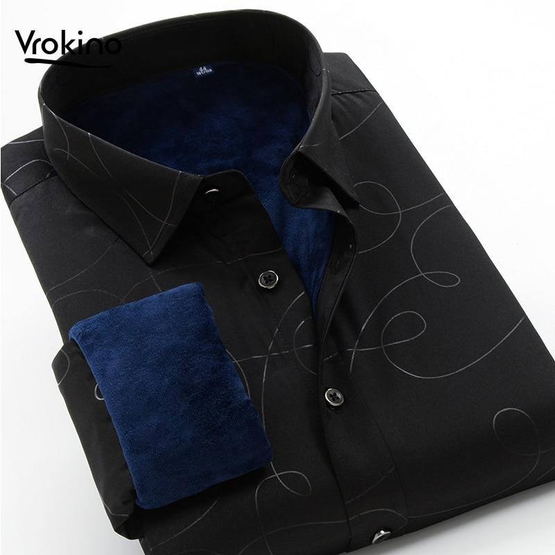 VROKINO Brand 2019 Winter New Printed Shirt Fashion Men's Hot And Velvet High Quality Long Sleeveshirt 6XL 7XL 8XL 9XL 10XL