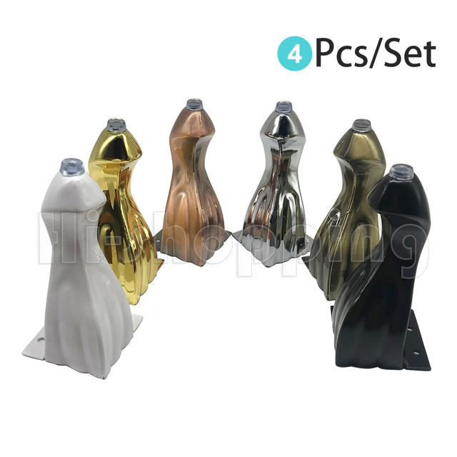 4pcs Furniture feet bronze plated metal sofa legs Snake Shaped Cabinets feet Bed TV Cabinet legs 14cm height