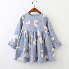 Summer Baby Kids Dresses Children Girls Long Sleeve Floral Princess Dress Spring Summer Dress Baby Girls Clothes Dress for Girl купить недорого в Москве