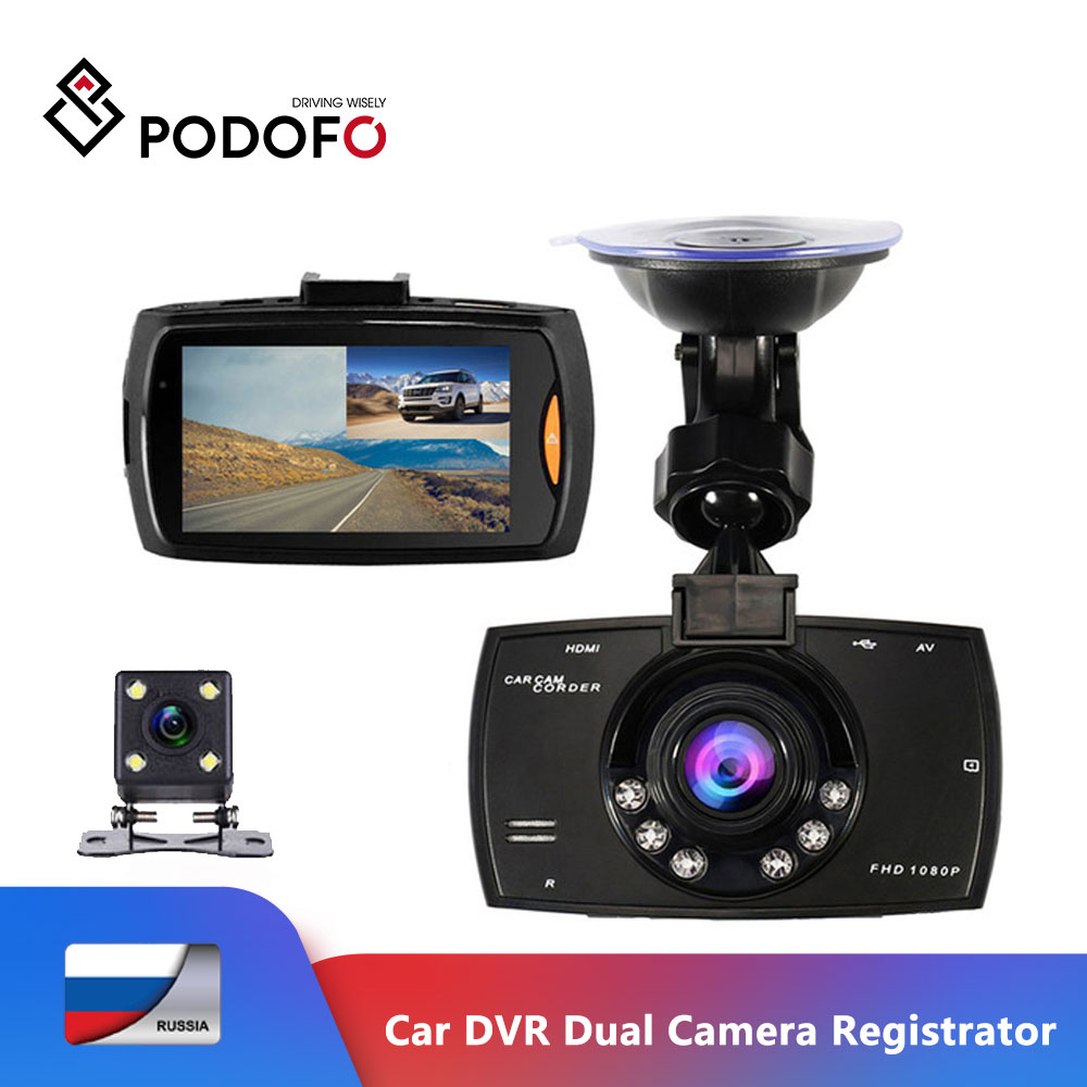 Podofo Car DVR Dual Camera G30 Video Recorder Registrator Full HD 1080P Dash Cam With Backup Rear View Camera Night Vision Dvrs|1080p dash cam|dash camcamera g30 - AliExpress
