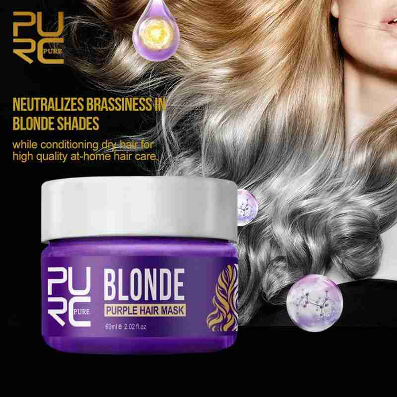 Purc Purple Hair Mask Repairs Frizzy Make Hair Soft Smooth Removes Yellow And Brassy Tones 60ml Magical Treatment Hair Mask 3