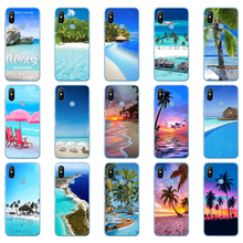 75DD summer Beach Scene at Sunset on sea Palm Soft Silicone Cover Case