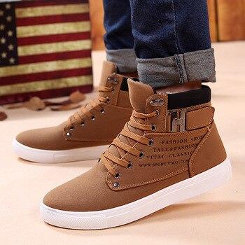 Высокие ботинки; Мужские ботинки для снежной погоды; Зимние теплые мужские туфли на шнуровке обувь 2020 новые модные флоковые плюшевые зимние...