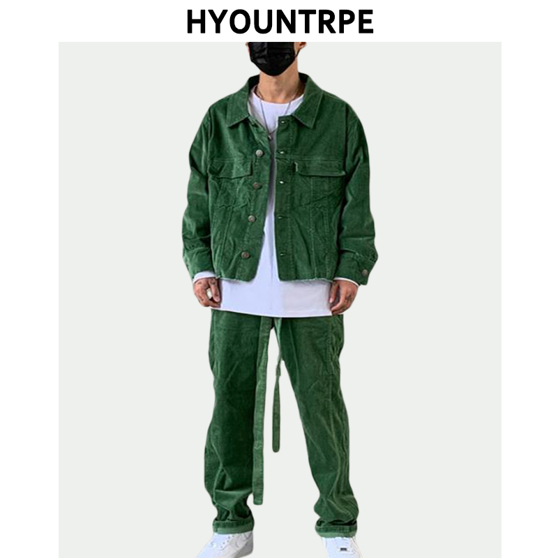 2 Pieces Sets Men Fashion Corduroy Retro Single Breasted Jacket Coat And Casual Straight Zipper Pants Joggers Streetwear Sets