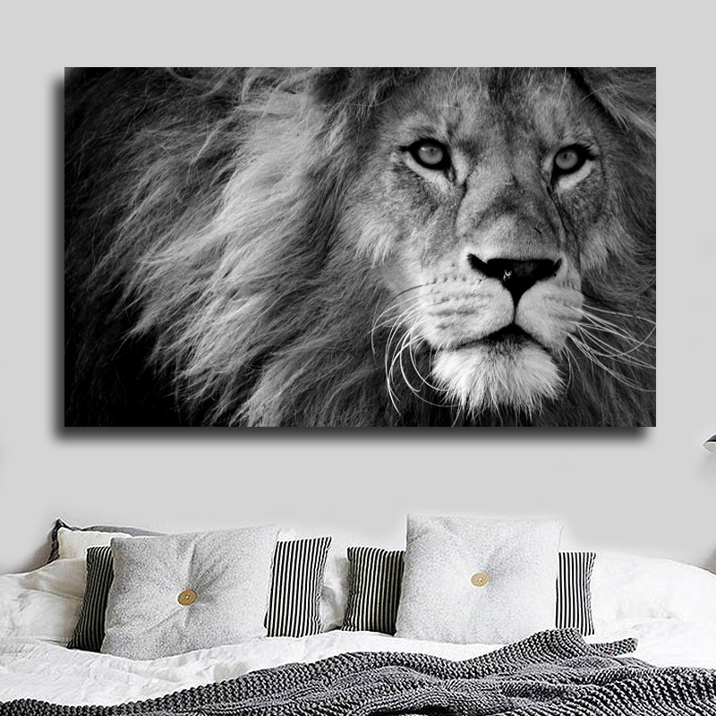 Decorative Painting Lion And Fly Animal Pictures Canvas Print Wall Pictures For Living Room Black And White Modern Posters Print