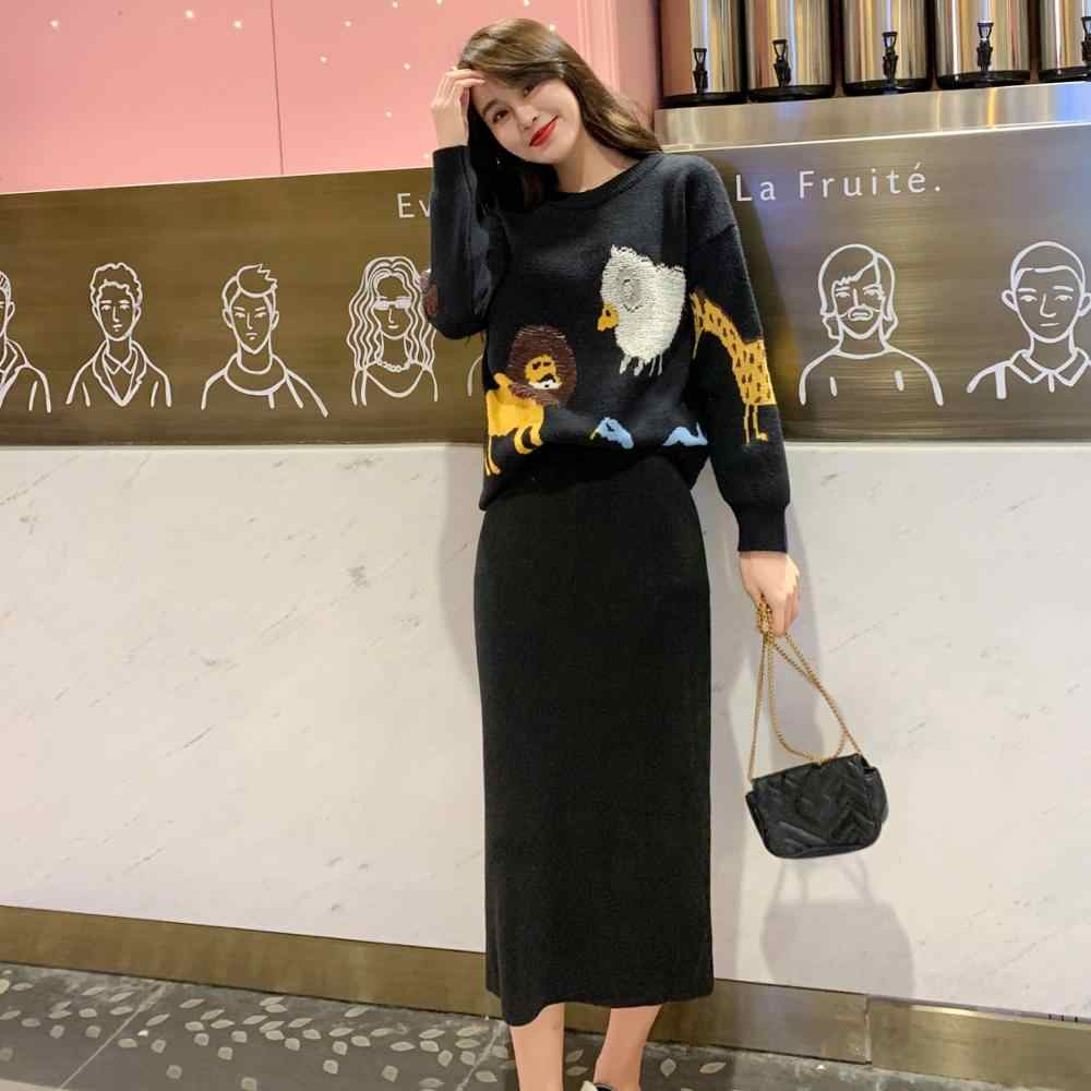 Women Elegant embroidery Sweater + Skirt 2 Piece Set  Fashion Sweatshirts Sporting Suit Female Knitted Suits Autumn Winter