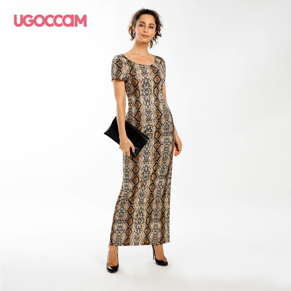 UGOCCAM Snake Skin Dress 2019 Women Vintage Long Beach Dress Loose Short Sleeve Deep Sexy Party Dress Vestidos De Fiesta