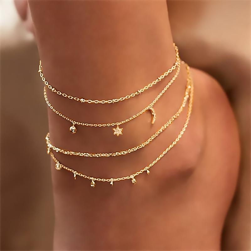 Bohemia Chain Anklets for Women Foot Accessories 2021 Summer Beach Barefoot Sandals Bracelet ankle on the leg Female
