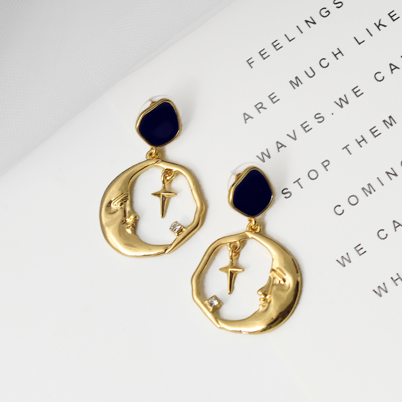 Simple Design Fashion Enamel Moon Star Drop Earring For Women Handmade Appointment Date Gift Bohemia New Arrival Jewelry