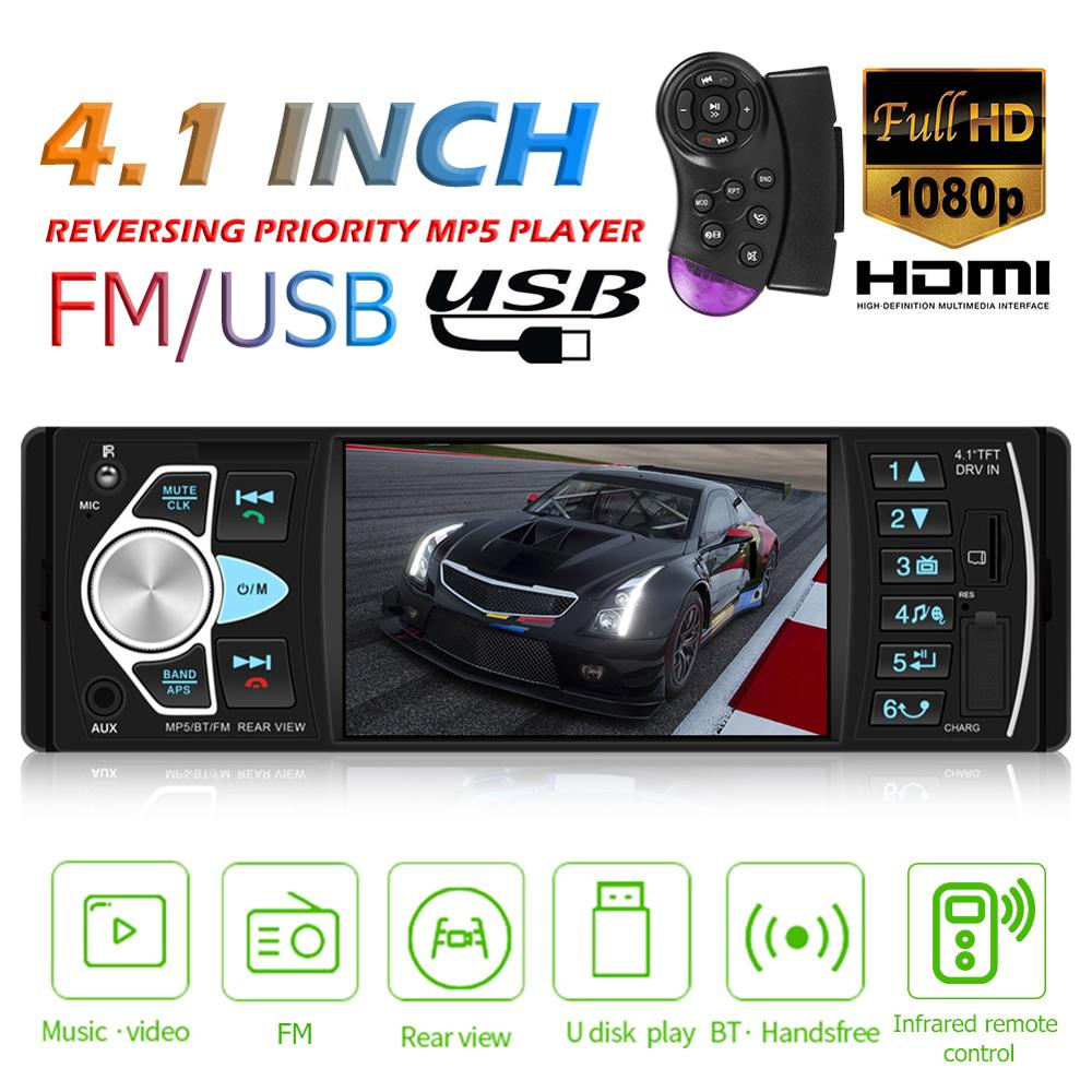 Car Radio Player 1 Din Autoradio 4022D Bluetooth 4.1 Support Rear View Camera Steering Wheel Control Car Stereo image