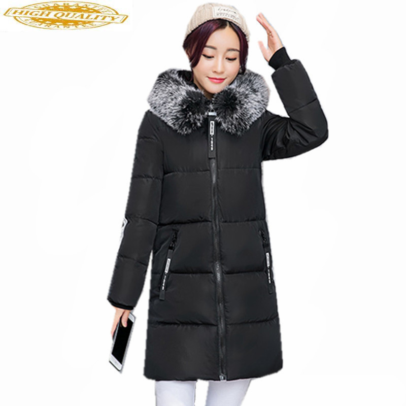 Womens White Duck Down Jacket Fur Collar Women Long Parka Hooded Winter Coat Female Padded Jackets Abrigo Mujer WXF388
