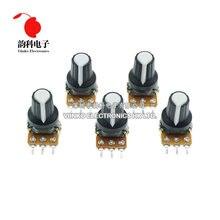 5 pçs/lote wha2 1k 10k 20k 50k 100k 500k ohm 15mm 3 pinos resistor de potenciômetro rotativo linear, para arduino com tampa branca ag2