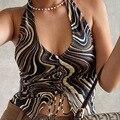 Momoland 2021 Летний Полосатый укороченный топ с принтом, жилет с вырезом, сексуальная модная майка, Женская бандана Y2K E-Girl, наряд, короткая футбол...