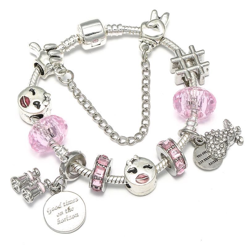 BAOPON Прямая поставка винтажные Подвески серебряного цвета браслеты для женщин DIY Кристальные бусины изящные браслеты для женщин Pulseira ювелирные изделия - Окраска металла: Type 30