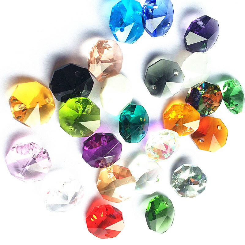 K9 Crystal Chandelier Octagon Beads (Free Jump Rings) Multicolor In 2 Holes Cut&Faceted Glass 14mm Strand Garland Curtain Beads