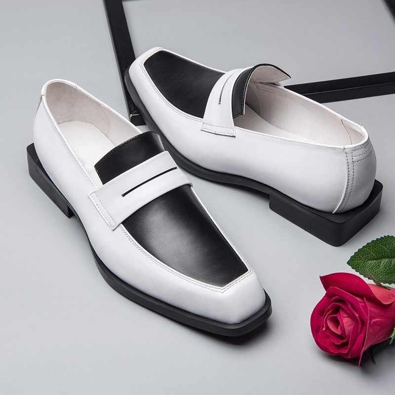 Oryginalne męskie skórzane buty wizytowe mieszane kolory brytyjski Mocassin Homme projektant formalnym garnitur biurowe buty ślubne kwadratowy palec u nogi