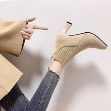 New 2020 Martin Boots Women Shoes High Heel Ankle Boots Shoes Woman Flock Slip-on Short Boots Fashion Sexy Zapatos De Mujer fedonas high quality women cow suede ankle boots rhinestone wedding party shoes woman wedges high heels short martin shoes woman