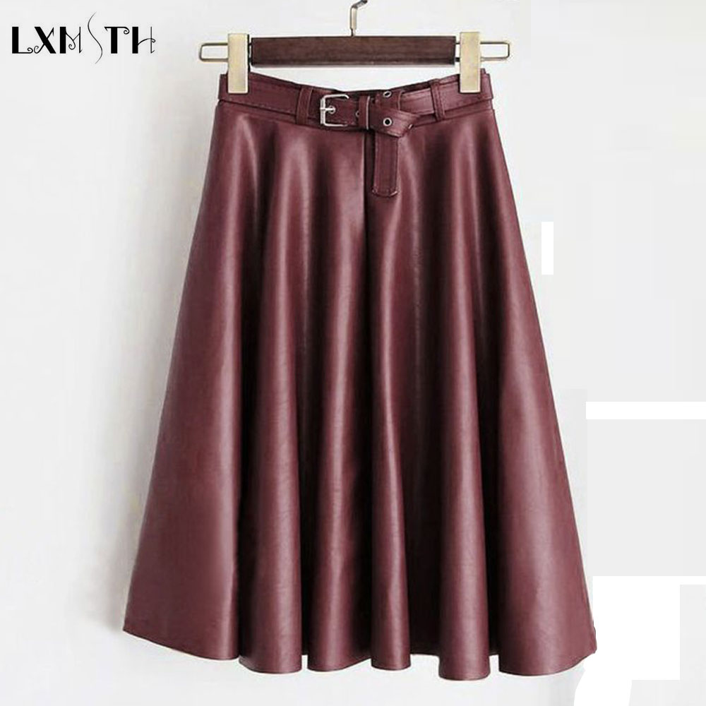 LXMSTH 4xl 5XL Women Plus Size Faux Leather Skirts Ladies Autumn Winter Casual Loose A Line Pu Leather Skirt With Sashes Red