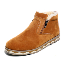 YeddaMavis Boots Brown Warm Plus Velvet Snow Winter Men Ankle New Side Zipper Shoes Man Zapatos De Hombre