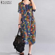 ZANZEA Vintage Floral Printed Sundress Women Summer Dress Ca